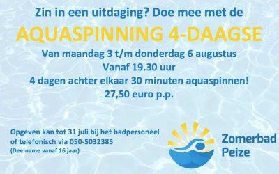 Aqua spinning vierdaagse in het Zomerbad Peize