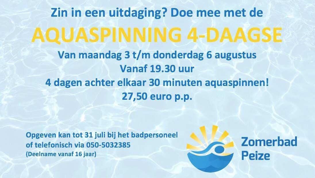 Aqua spinning vierdaagse Zomerbad Peize
